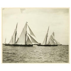 Yacht Galatea, Lorna, Wendur, Margorie, Early Silver Gelatin Photographic Print