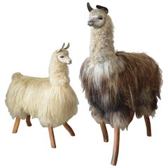One of a Kind Pair of Handmade Lifesize Llama Statues