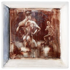 """""""Nude Bathers, Laguna Beach"""", Midcentury Schale mit männlichem Akt, rötlich-braune Glasur"""