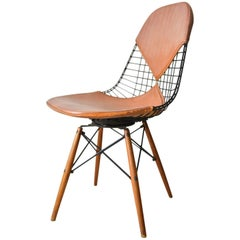 First Generation Eames PKW-2 Wire Chair with Walnut Dowel Legs, circa 1951
