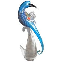 Vibrant Parrot / Bird Art Glass Sculpture by Murano Glass, circa 1960s