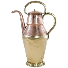 Early 19th Century Hand-Hammered French Copper and Brass Teapot with Lid