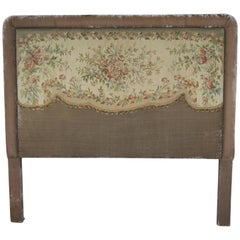 19th Century Aubusson and Rose Velvet Headboard