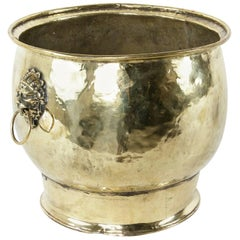 Large Late 17th Century French Louis XIV Period Brass Cachepot with Lion Heads