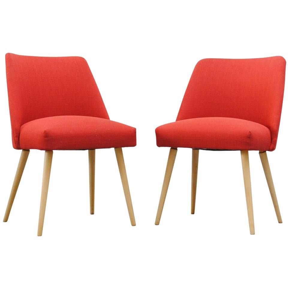 Saarinen Style Dining Or Cocktail Chairs In Red For Sale