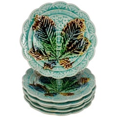 Villeroy & Boch Japonisme Aesthetic Chestnut Tree Leaf Dessert Plates, S/6