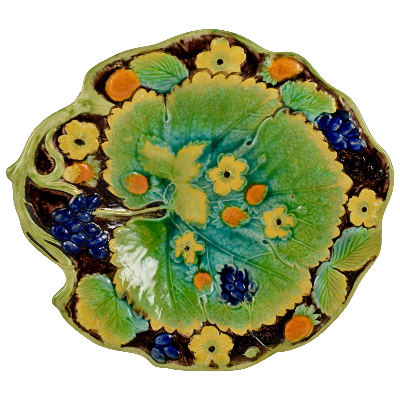 Samuel Alcock & Co Majolica Strawberry Leaf Form Dessert Tray England circa 1850