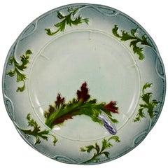 French Faïence Barbotine Art-Nouveau Asparagus Plate