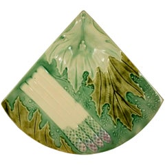 French Faïence Barbotine Majolica Fan Shaped Asparagus/Artichoke Server