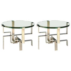 Two French Mid-Century Modern Silver Leaf End Tables in Jacques Quinet Style