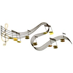 Large Whimsical Music Theme Tunes Wall Sculpture by Curtis Jere