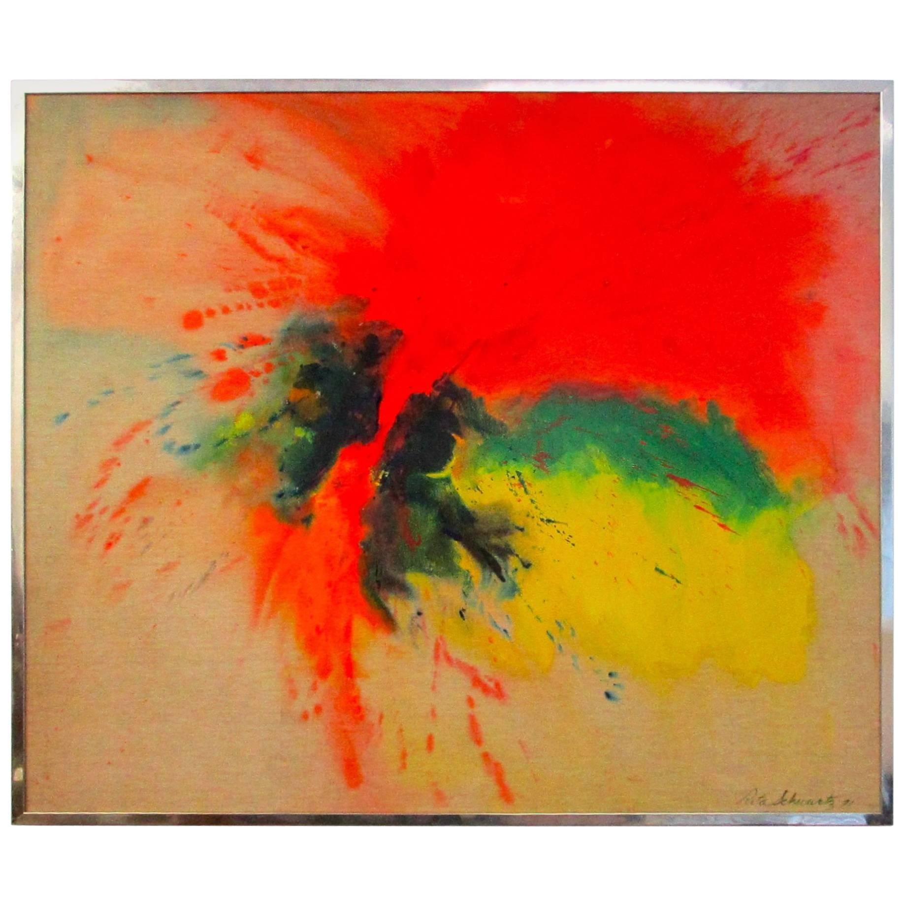 Large 1970s Original Signed Rita Schwartz Abstract Painting