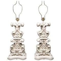 Baroque Dorothy Draper Plaster Sculpture Table Lamps