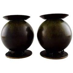 Pair of Art Deco Candlesticks, Bronze, Danish Design, 1930-1940s