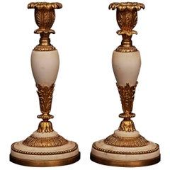 Pair of French Louis XVI Ormolu and Marble Candlesticks, circa 1780-1800