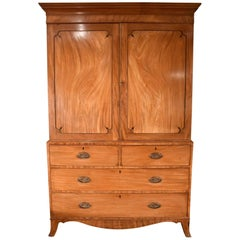 Good George III Mahogany Linen Press of Superb Color
