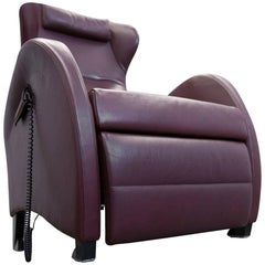 Wittmann Leather Chair Wine Red One Seat Relax