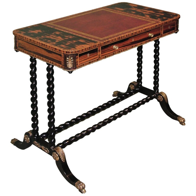 Regency period coromandel wood writing table