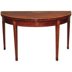 18th Century mahogany large demilune card table