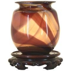 Handblown Vase with Custom Stand by Nancy Freeman, 1979