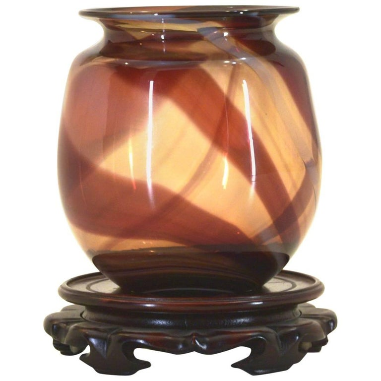 Handblown Vase with Custom Stand by Nancy Freeman, 1979 For Sale