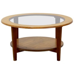 Vintage Danish Round Coffee Table with Glass, 1960s