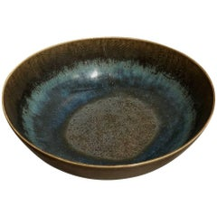 Unique Stoneware Bowl with Engraved Fishes by Stig Lindberg for Gustavsberg