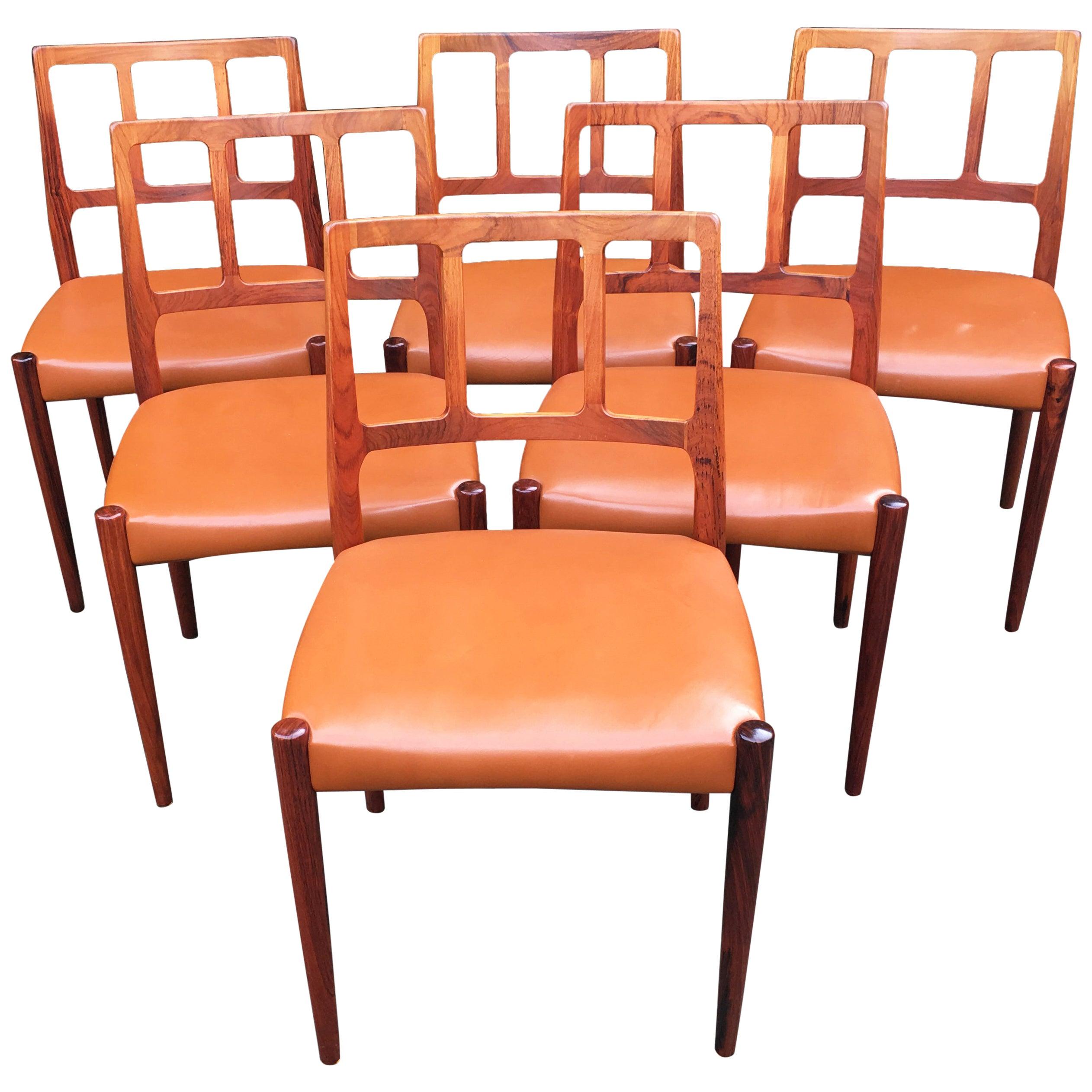 Six Rosewood Dining Chairs by Johannes Andersen for Uldum Møbelfabrik
