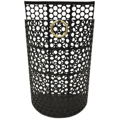 French Mid-Century Modern Black Enameled Steel Umbrella Stand or Waste Basket