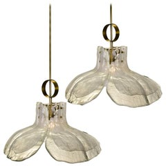 Pair of Large Four-Panel Melting Glass Flower Chandeliers by Kalmar, Austia 1970