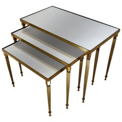 Maison Baguès Nesting Tables, Brass and Mirror, 1969, French