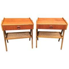 Pair of Midcentury Scandinavian Teak and Wicker Bedside Tables