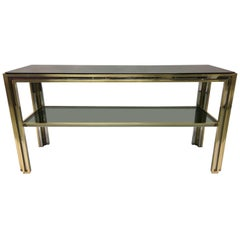 Italian Mid-Century Modern Brass and Chrome Console / Sofa Table by Willy Rizzo