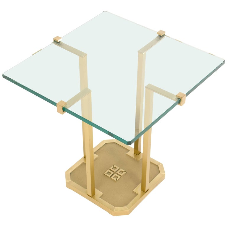 Side Table by Peter Ghyczy Brass and Glass , Model T18, 1970