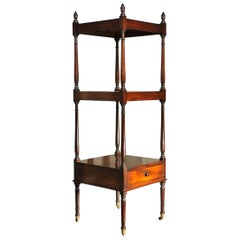 Early 19th Century Side Table, Mahogany Shelving, Regency Period