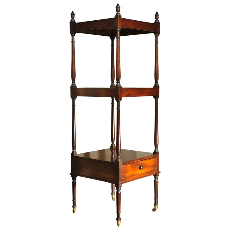 Early 19th Century Side Table, Mahogany Shelving, Regency Period For Sale