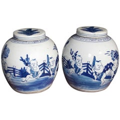 Pair of Chinese Porcelain Glazed Figural Ginger Jars with Lids, 20th Century