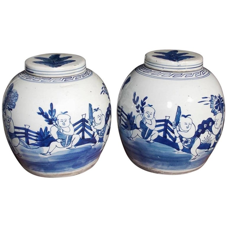 Pair Of Chinese Porcelain Glazed Figural Ginger Jars With Lids 20th Century For
