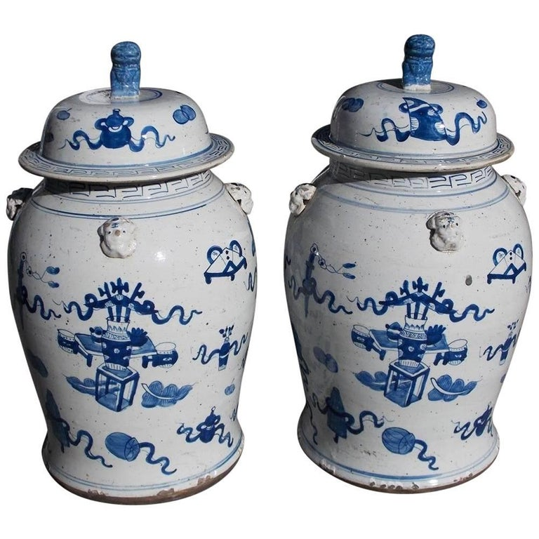 Pair of Chinese Porcelain Glazed Blue and White Foo Dog Temple Jars, 20th Cent.