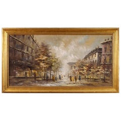 20th Century Oil Painting Depicting Paris View