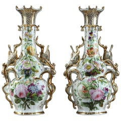 19th Century Napoleon III Pair of Porcelain Vases in Louis XV Style