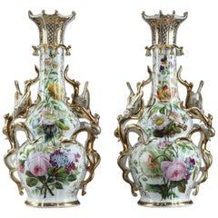 19th Century Napoleon III Pair of Porcelain Vases in Louis XV Style