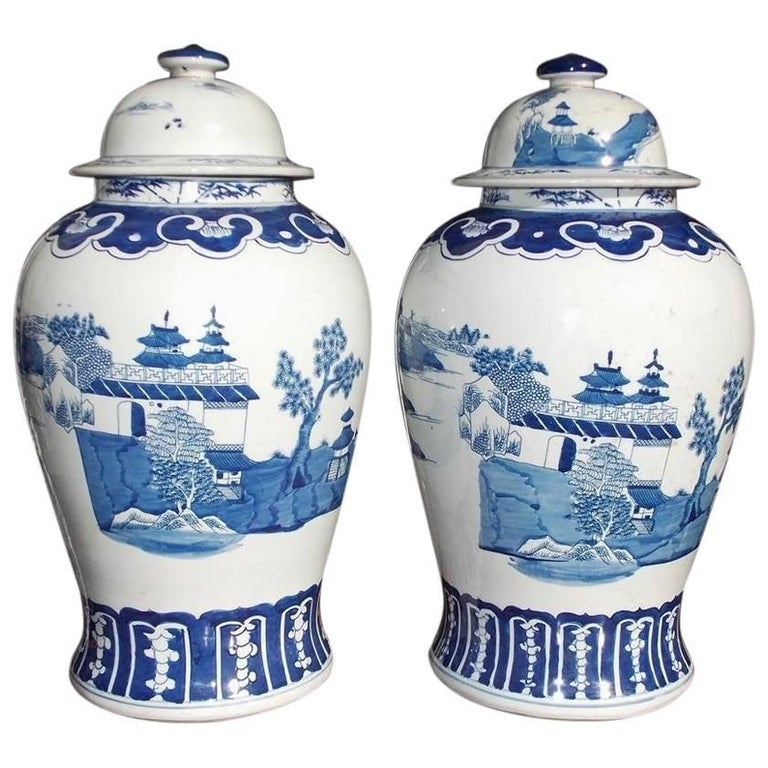 Pair Of Chinese Porcelain Glazed Blue White Temple Jars With Lids 20th Cent