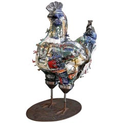Lifesize Glazed Ceramic Hen Sculpture by Italian Artist Roberta Colombo