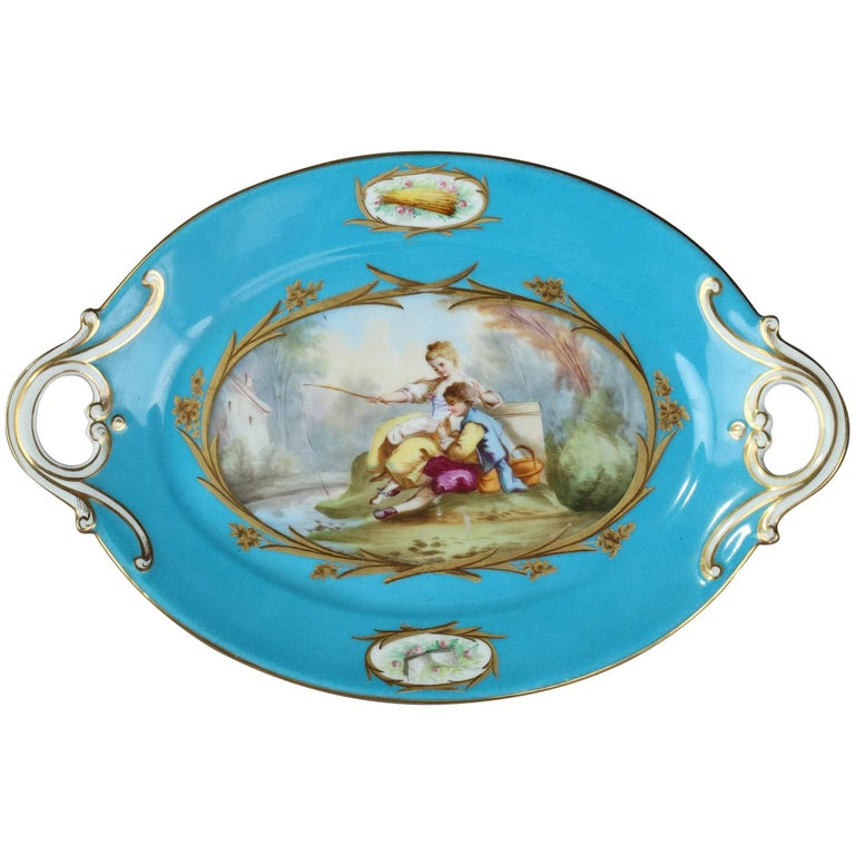 19th Century Blue Porcelain Cup in Sevres Style For Sale