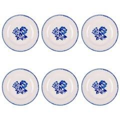 Vintage Hand-Painted Dessert Plates, Set of Six