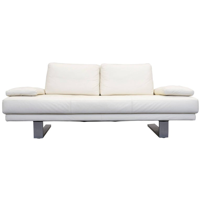 Rolf Benz 6600 Leather Sofa Cream White Two Seat Modern