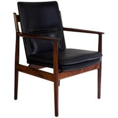 Arne Vodder Black Leather and Rosewood Armchair