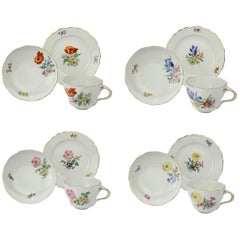 Set of Six Meissen Porcelain Tea Cup Saucer & Plate Trios with Different Flowers