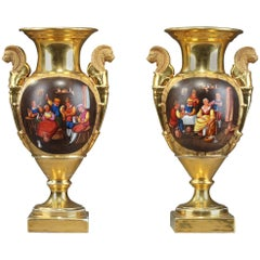 Pair of Restauration Porcelain Vases with Cabaret Scenes and Landscapes